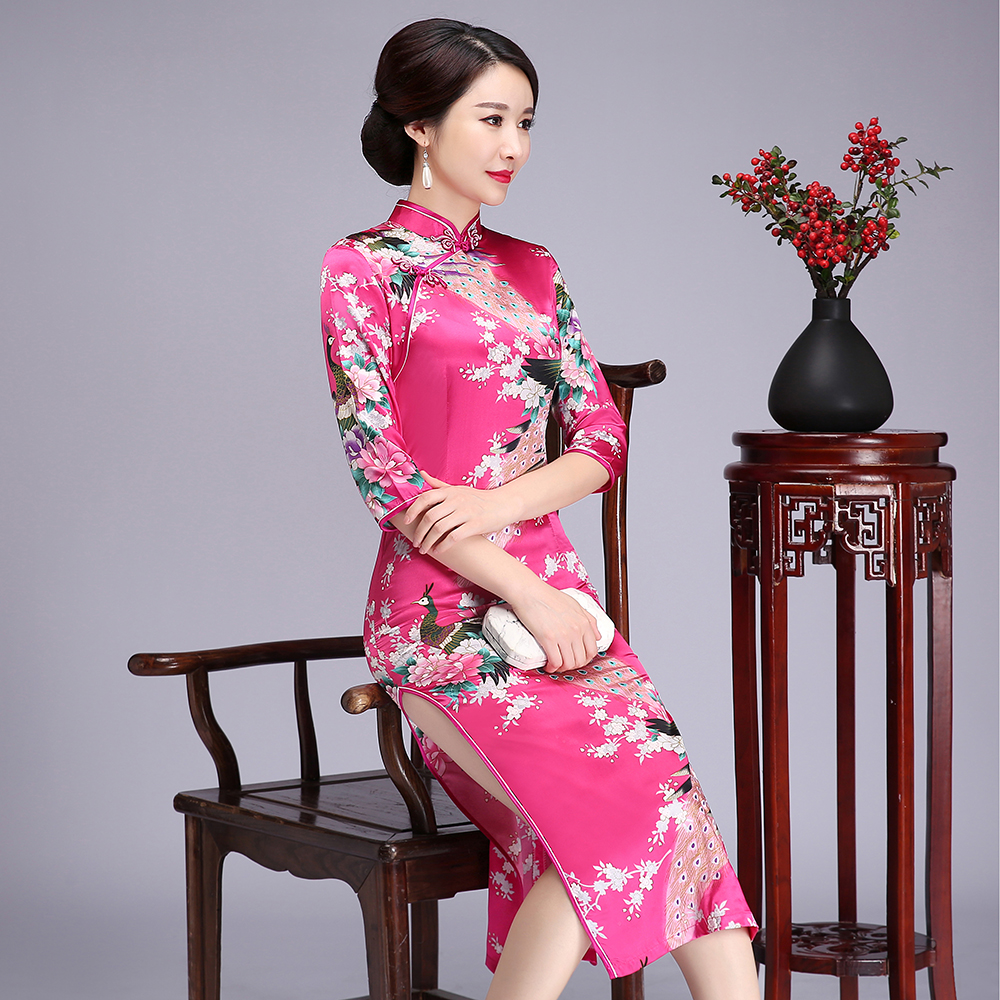 Vintage Floral Chinese Lady Plus Size Cheongsam Qipao Rayon Long Bride Wedding Dress Mandarin Collar&Button Vestidos 90518