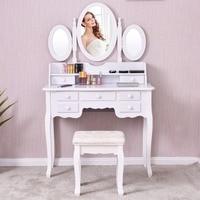 Giantex белый Vanity дерево макияж туалетный стол стул набор современный комоды для спальня с 3 складное зеркало 7 ящика HW56422WH