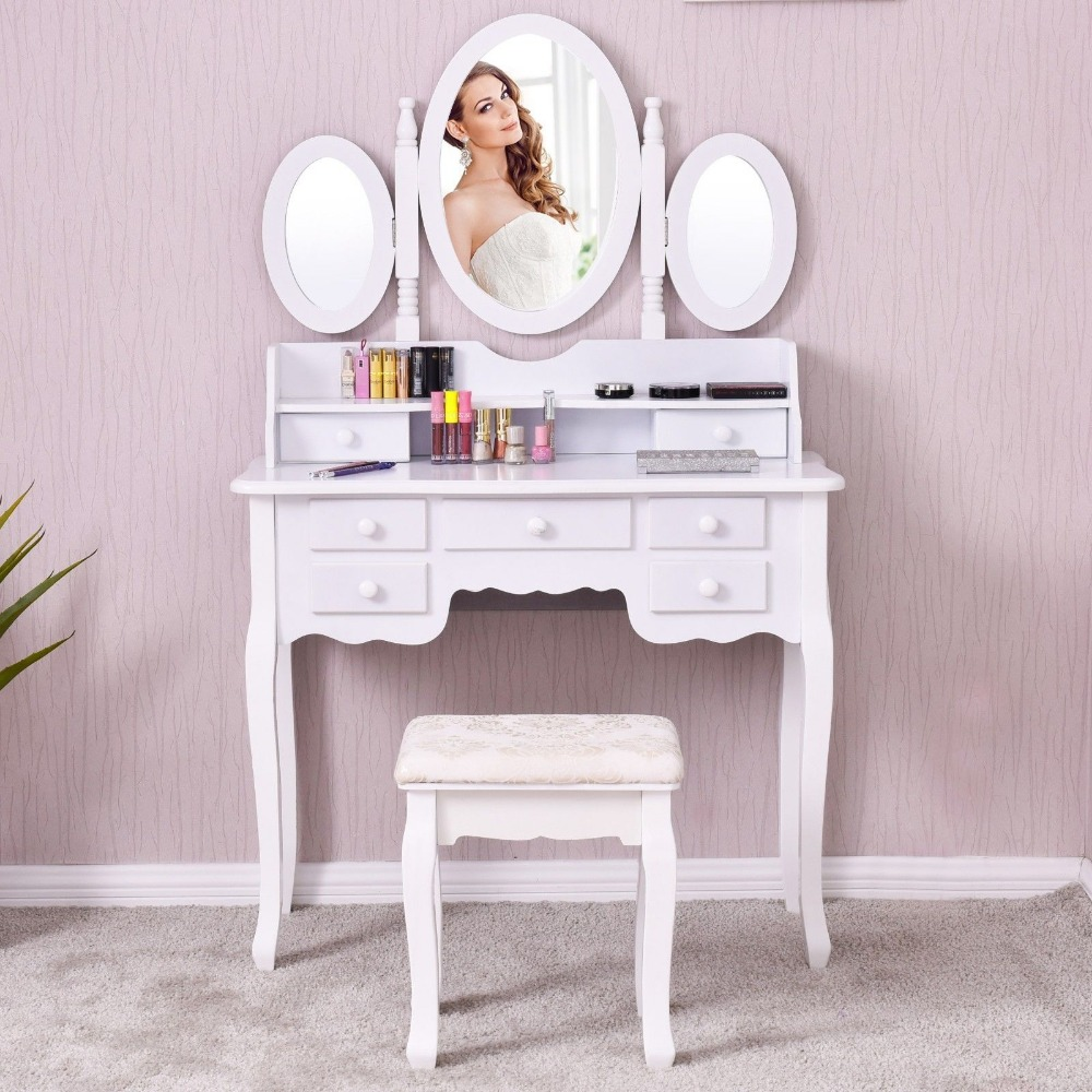 Giantex White Vanity Wood Makeup Dressing Table Stool Set Modern Dressers for Bedroom With 3 Folding Mirror 7 Drawer HW56422WH giantex wood makeup dressing table stool set jewelry desk drawer mirror black home furniture hw52951bk