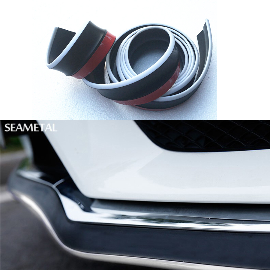 2 5m car bumper skirts strip front lower lip black white protector rubber stickers external decoration car styling universal