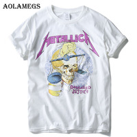 Aolamegs T Shirt Men Skull 3D Print Heavy Metal Rock Men T Shirts Cotton Short Sleeve