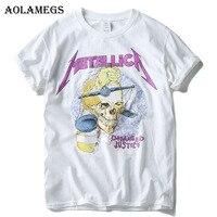 Aolamegs T Shirt Men Skull 3D Print Heavy Metal Rock Men T Shirts Cotton Short Sleeve