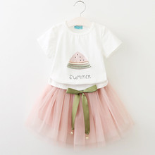 summer children clothing 2019 new cotton girls T-shirt + net yarn skirt children suit baby girl clothes 2-7 years old все цены
