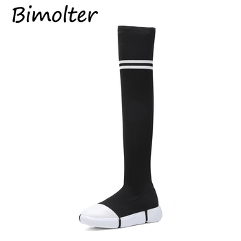 Bimolter Autumn Winter Women Round Toe Over The Knee Boots Female Fashion Comfortable Casual Knitted Woman Boots Wedges PAEB004