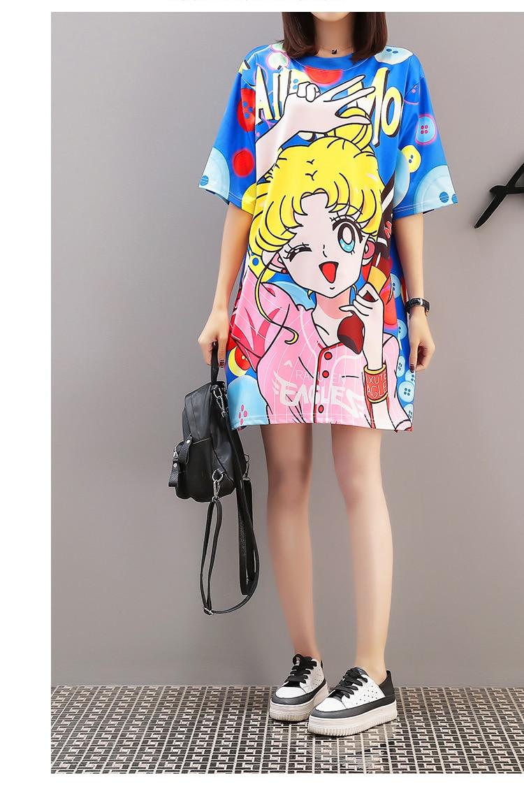 Cool Summer Harajuku Sailor Moon T Shirt Dresses  2