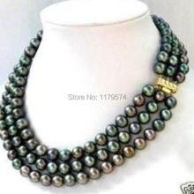 Горячая новинка очаровательное красивое модное ювелирное изделие 3 ряда 7-8 мм черное Жемчужное Ожерелье akoya AAA sp0378
