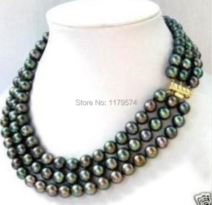 Free hot new Charming beautiful Fashion jewelry 3 row 7 8MM Black akoya Pearl Necklace AAA