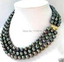 Envío caliente nueva Encanto hermosa joyería 3 fila 7-8 MM Negro akoya Collar de Perlas AAA sp0378