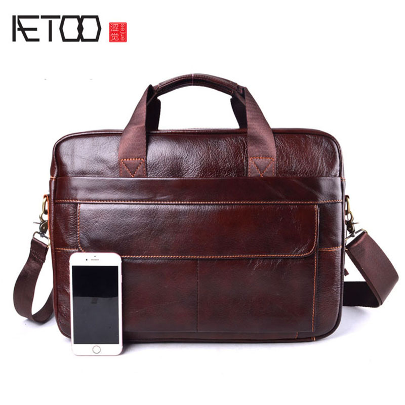 AETOO Men's Travel Brown Leather Briefcase Genuine LeatherCowhide Genuine Leather Laptop Bag Handbags Cowhide Men Crossbody Bag