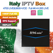 H96 Mini+ Italia IPTV M3U Abonnement IPTV Italy UK German Mediaset Premium For 2G 16G Amlogic S905W Android 7.1 TV Box PK X96(China)