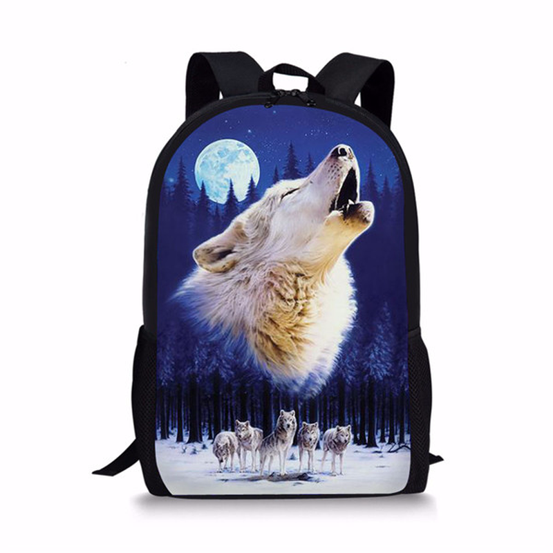 Customized Cool 3D Wolf Moon Backpack for School Children Harness Primary Kids Dinosaur Bagpack Designer Bookbags Polyester 2019 image