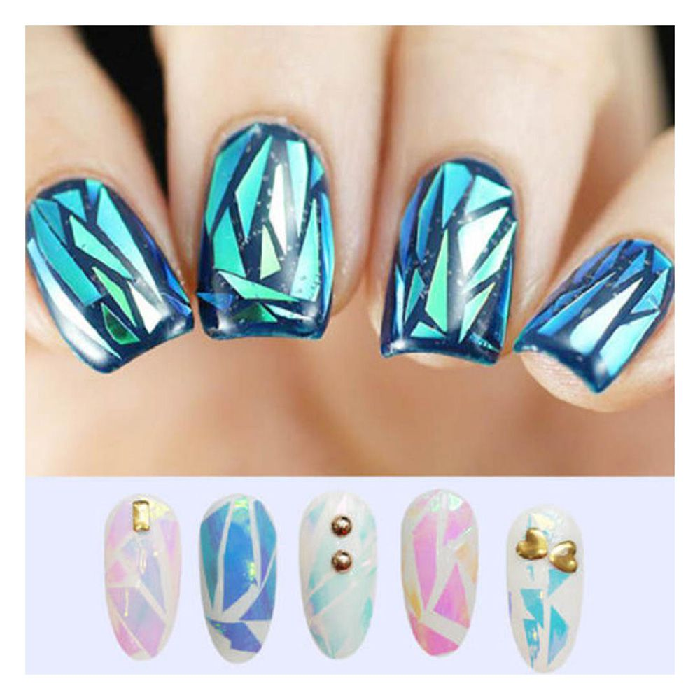 Spiegel Folie Us 92 7 Off 10 Stks Nieuwste Gebroken Glas Stukken Spiegel Folie Tips Stencil Decal Nail Art Sticker Beauty Ontwerp Diy In 10 Stks Nieuwste