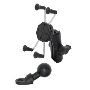 Image 5 - Jadkinsta X Grip Mount Holder Adjustable Motorcycle Rear View Mirror Mount Handlebar with 6cm Double Socket Arm for Gopro Phone