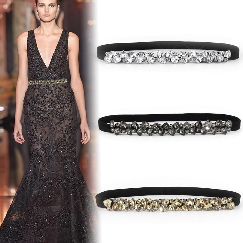 Rhinestone Elastic Belt Luxury Full Crystal Gem Black Female Waistband Fur Coats Down Generation Womens Dress Belts SD28