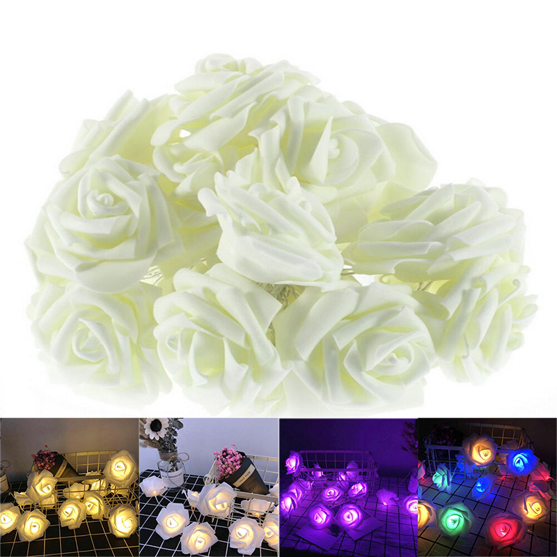 Simulation Rose LED Lamp String AA Battery Box 1M 2M Rose Light Fairy Light Wedding Garden Party Girl Gift LED String Lights