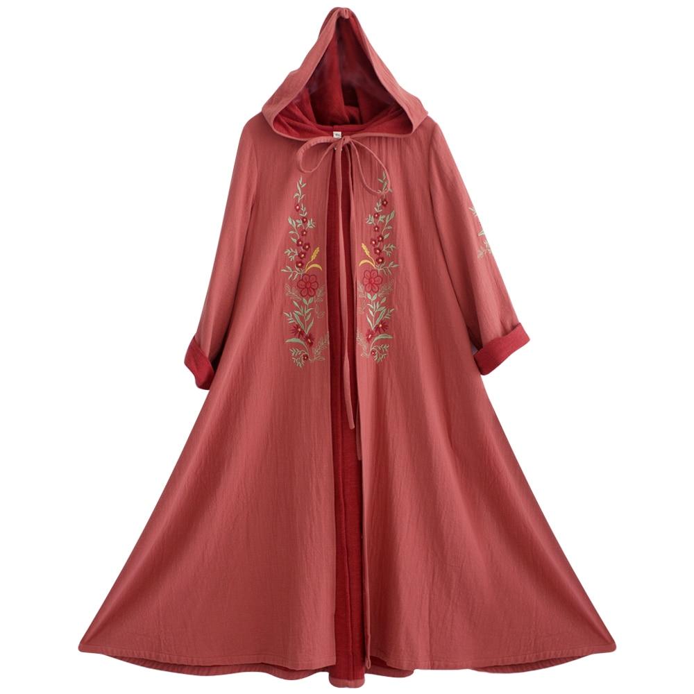 Brodé Originale Rouge Lâche Longues Automne Manches Femmes Outwear Trench Long Nouveautés Mm175 Manteau X Capuche Linge 2017 À Conception UwxBqXz