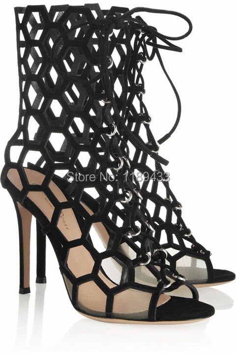 Fashion sandal boots women pumps sexy gladiator high heel sandals designer hollow out leather summer boots 2017 sexy women summer boots peep toe high heel gladiator sandal boots fashion knee high black hollow out long boots plus size10