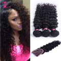 Deep wave virgin hair peruvian lace frontal closure with bundles top soft 7a unprocessed virgin hair 3 bundles with lace closure