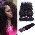 Onda profunda do cabelo virgem peruano lace frontal encerramento com bundles soft top 7a cabelo virgem não processado 3 pacotes com rendas fechamento