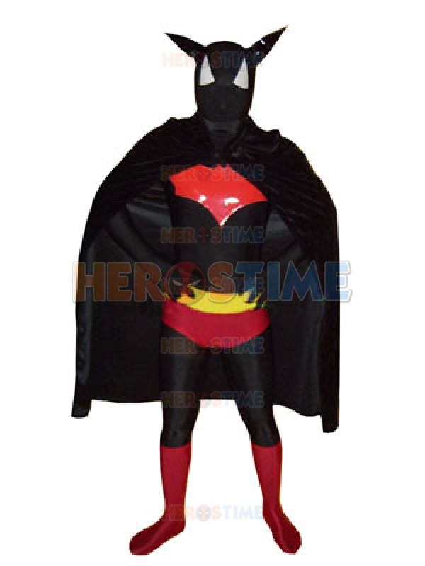 Lycra Spandex Batman Costume Black & Red Full Body Batman Superhero Costume with cape