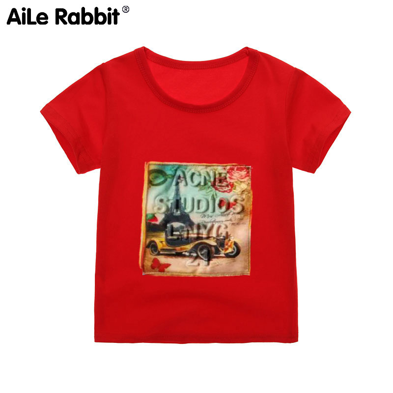 AiLe Rabbit 2018 Children Short Sleeve Tops Tee Summer Hot Boys Girls Fashion Patch Letters Infant Baby Cotton Clothing T k1