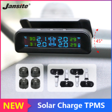 Jansite Car TPMS solar Charge Tire Pressure Alarm Monitor System Display Temperature Warning Tyre with 4 Sensor can adjust angle