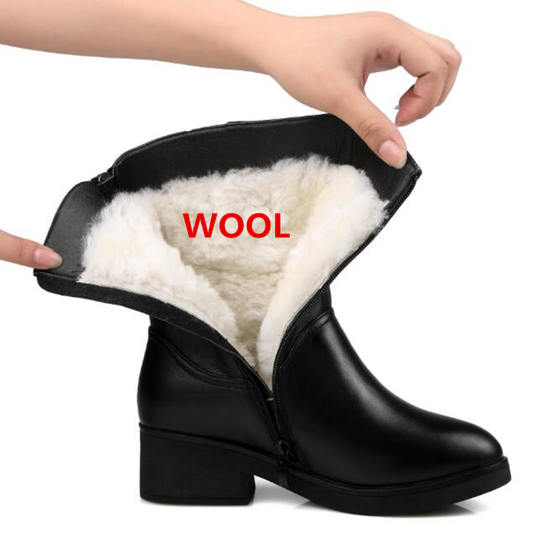 ZXRYXGS brand Large Size Full Genuine Leather Boots Women Boots 2019 New Fur One wool Snow Boots Winter Women Shoes Martin Boots