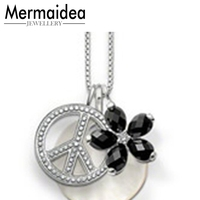 Shell Disc&Black Flower&Peace Sign Pendant Necklaces Women Men Silver Fashion Good Jewelry Link Chain Necklace