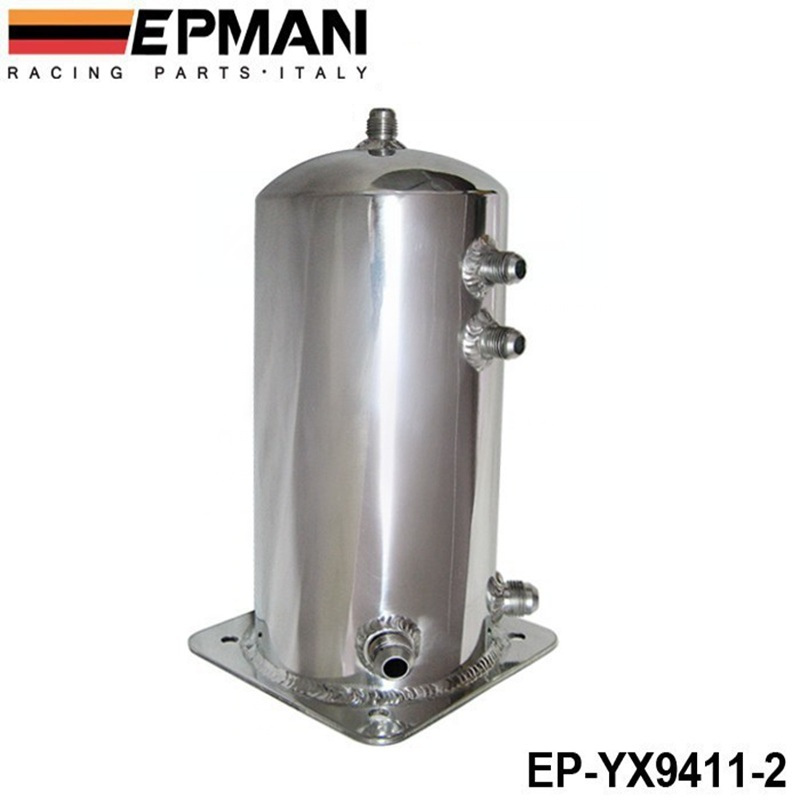 Aluminium Alloy 2L 2 Litre Universal Fuel Surge Cell Tank EP-YX9411-2 universal aluminum 2 litre polished an fittings braided stainless steel oil pipes fuel surge tank