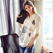 Dabuwawa white blouse long blouse women blouses for women casual