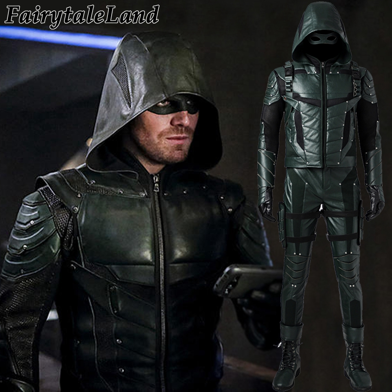 Green Arrow Cosplay Costume Oliver Queen Outfit Fantasy Adult Superhero Jacket Suit Clothing Man Halloween Costumes