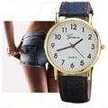 GNOVA Platinum Denim PU leather Watch Woman Jeans Patterns Fashion Girl Gift women wristwatch Golden reloj dama