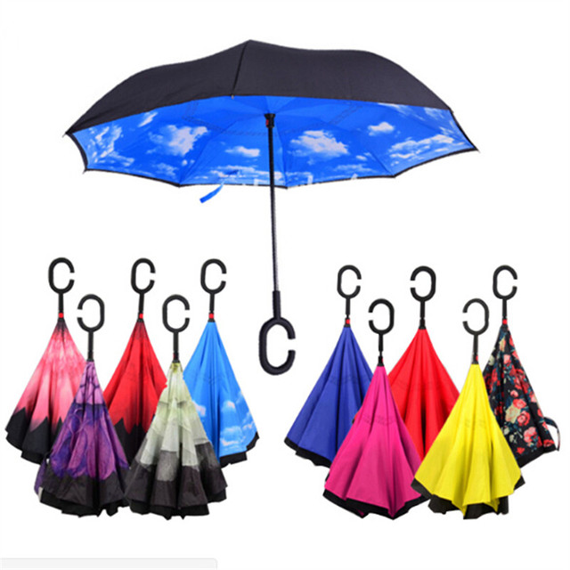 Windproof Reverse Folding Double Layer Inverted Umbrella Self Stand umbrella rain/sun women/men high quality 2017 Child durable