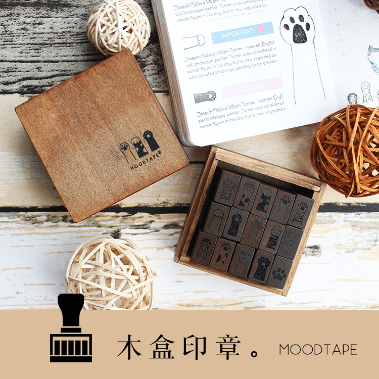 Moodtape Vintage Wooden Boxes Wood Clear Stamp For DIY Scrapbooking/photo Album Decorative Stamp Cat Claw Rubber Stamp Seal
