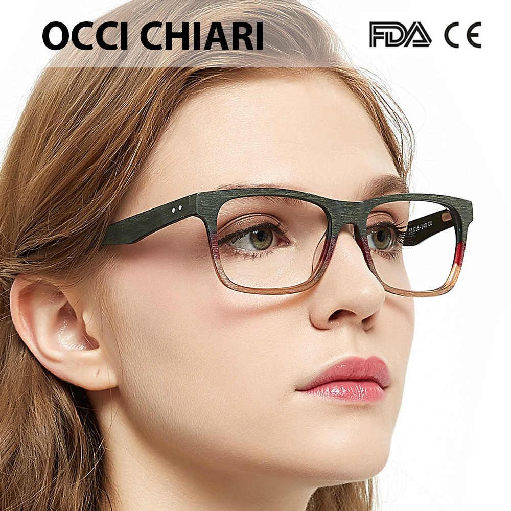 90031ccdbf OCCI CHIARI Women Glasses Frame Men Eyeglasses Frames Acetate Spectacles  Myopia Gafas Unisex Fashion Wood Grain