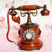 High Quality Vintage Telephone model crafts retro with clock antique classic wrought home decor ornaments YWSM45