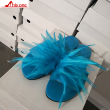 THIS ONE Brand Design Big Size 35-47 Leisure Feather Top Quality Beach Women Shoes Summer Flat Shoes Woman Slippers flip&flops цена 2017