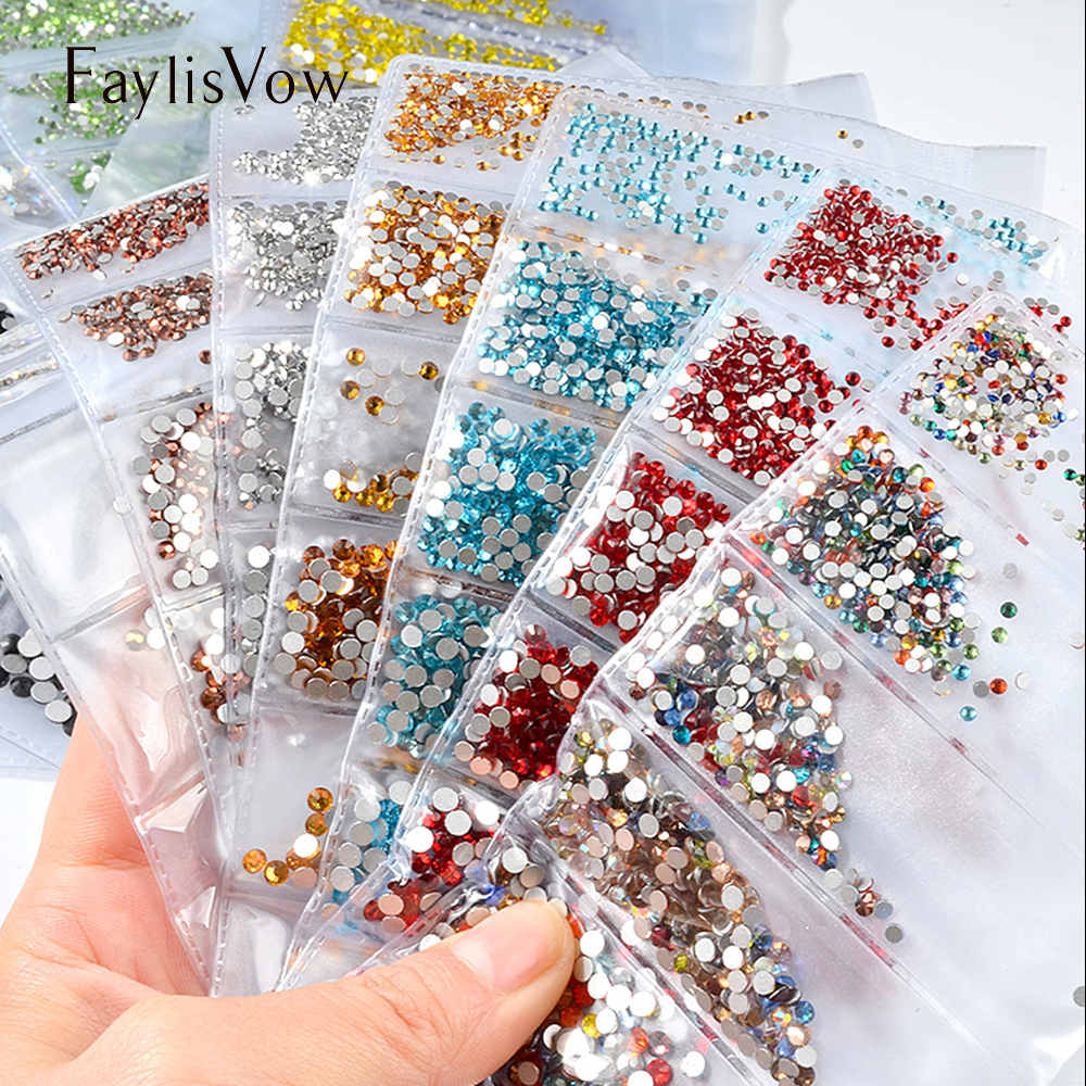 Nail Art Crystal Glass Rhinestones Flatback ss4-ss16 Small Sizes Diamonds 20 Colors Holographic 3D Nail Decoration Gems super shiny 5000p ss16 4mm crystal clear ab non hotfix rhinestones for 3d nail art decoration flatback rhinestones diy