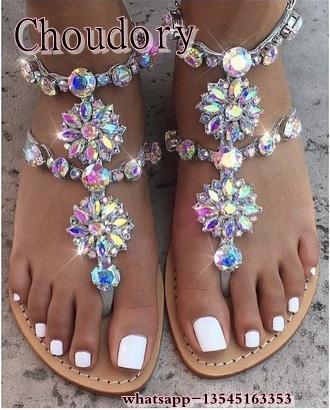 2019 shoes woman sandals women Rhinestones Chains Flip Flops Sandals plus  size Flat sandals gladiator sandals 27d6cea297ea