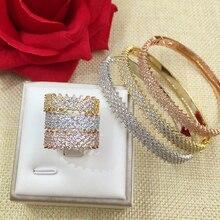GODKI Fashion Luxury Super Shiny AAA Cubic Zirconia Women Baguette Bracelet Bangle And Ring Set