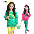 V-TREE junior chicas sistemas de la ropa del color del caramelo niña chándal de dibujos animados hello kitty ropa establece la ropa del bebé para las niñas