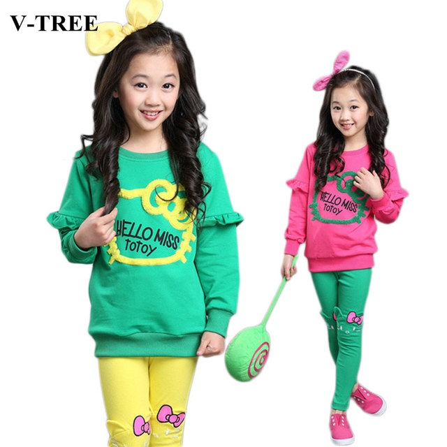 V-TREE junior girls clothing sets candy color girl tracksuit cartoon hello kitty girls clothes sets baby clothing for girls