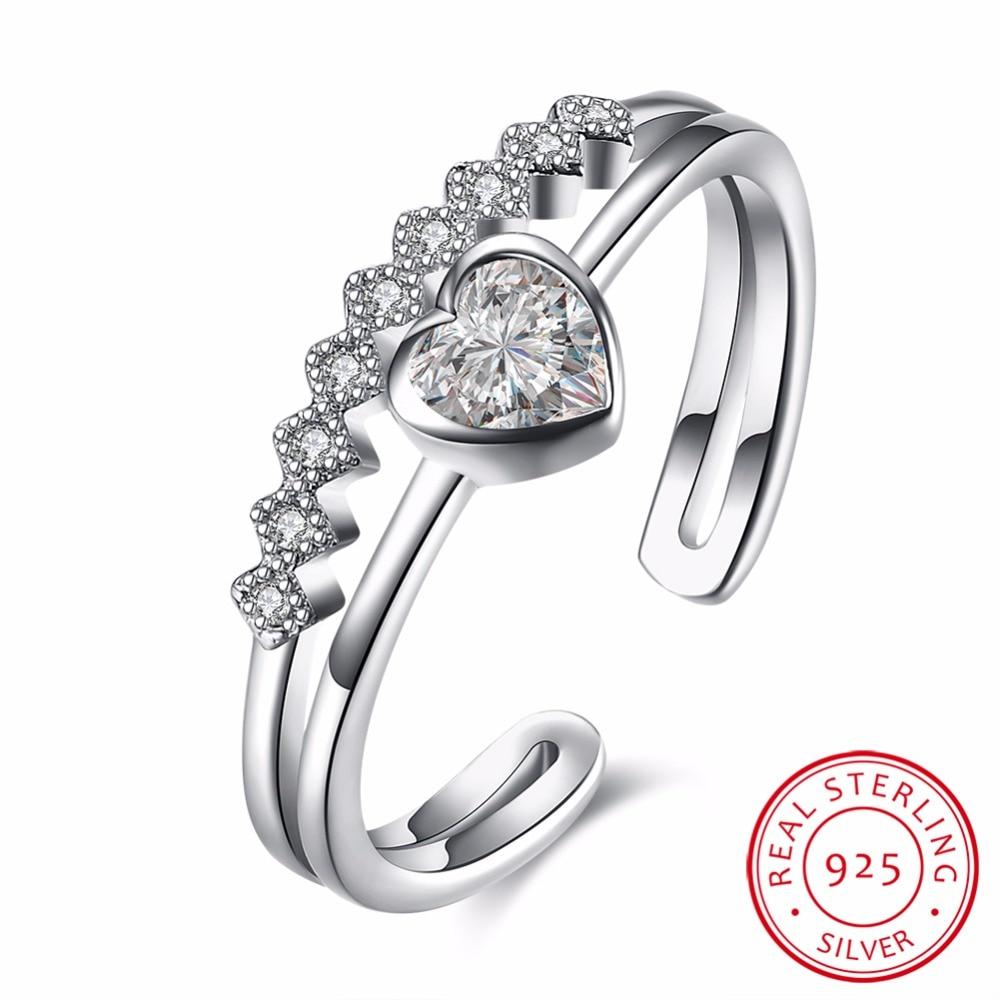 3e08394c493b Visisap corazón circón anillos de bodas 100% S925 plata esterlina anillo de  joyería regalos para amado muchacha bijoux VSVR094