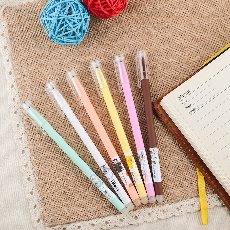 K01 3X Kawaii Cartoon Totoro Pikachu Bear Erasable Gel Pen Blue&Black Ink Kids Gift School Office Supply Student Stationery