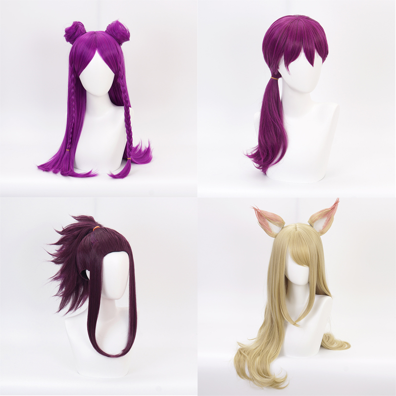 Game Character LOL KDA Ahri Akali Evelynn Kaisa Cosplay Wig Heat Resistant Synthetic Hair Perucas League of Legends Cosplay Wig
