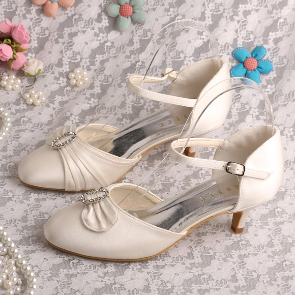 Wedopus MW226 Ladies Low Heel Fashion Shoes Ivory Satin Dropshipping