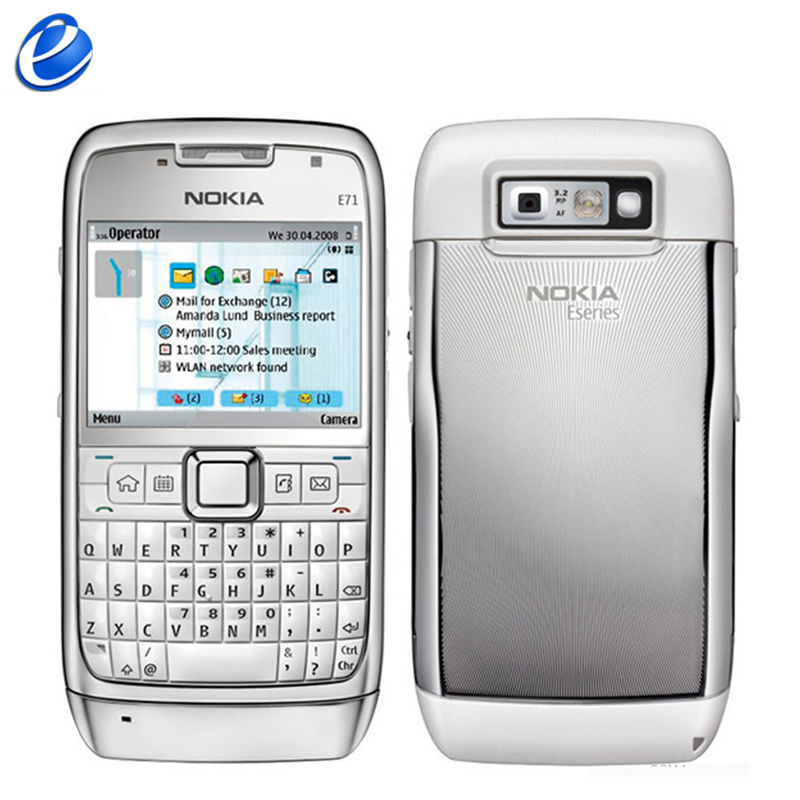 Original Nokia E71 QWERTY Keyboard 3 15MP Wi Fi Symbian OS FM radio cell phone refurbished