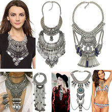 Women Bohemian Vintage Multilayer gypsy maxi necklace Ethnic Silver Color statement necklaces pendant collares mujer Necklace