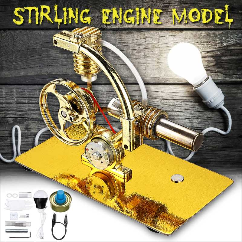 Steam Power Stirling Engine Motor Model + Light Bulb School Demonstration Education Toy Kit For Kids