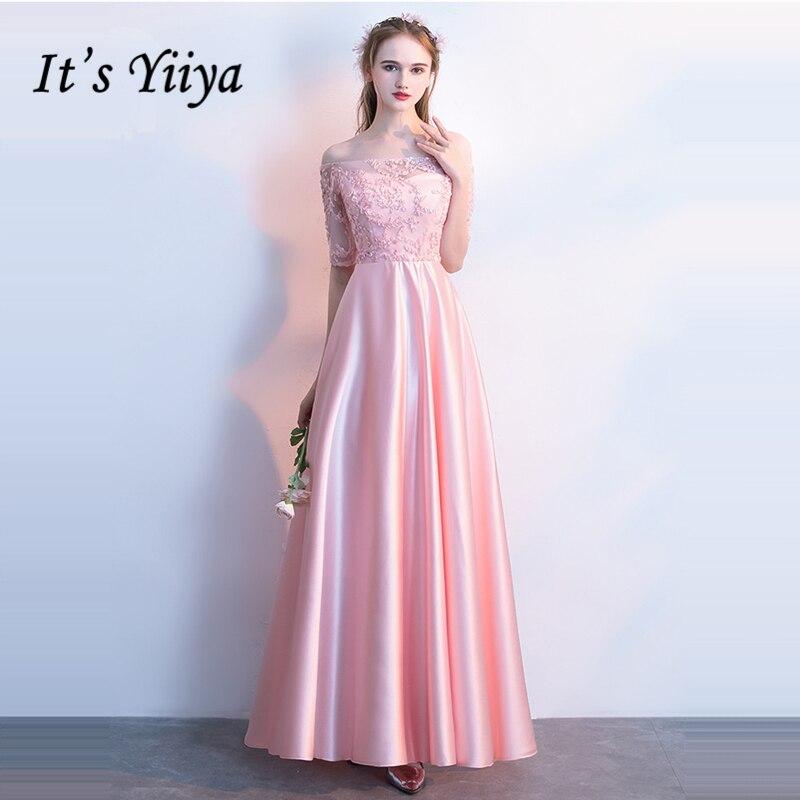 It's YiiYa 2018 Hot Sales Pink Boat Neck Bridesmaids Dresses Lady Fashion Designer Quality Sexy Backless Formal Dress LX705